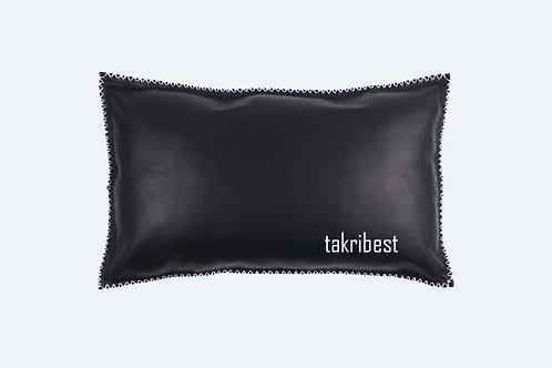 poussin en cuir noir large et fil blanc