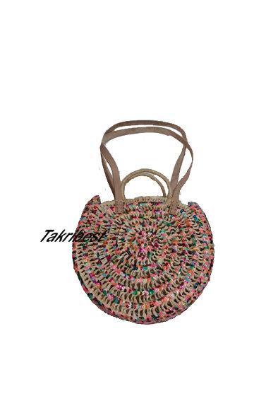 sac en palmier et doum mozena avec mains cuir