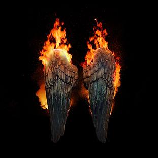 Burning angel wings, dark atmospheric mo
