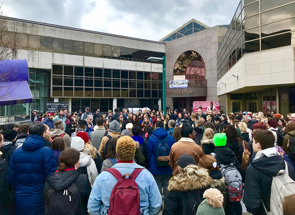 National Student Walk Out at Western University in solidarity with Wet'suwet'en - March 4, 2020.