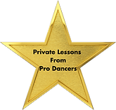 Gold star that reads: Private Lessons From Pro Dancers
