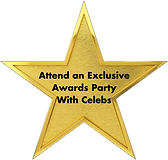 Gold star that reads: Attend an Exclusive Awards party with Celebs