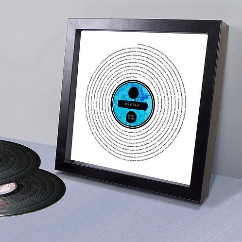 "Ed Sheeran - ""Divide"" Personalised Vinyl record lyrics label fr"