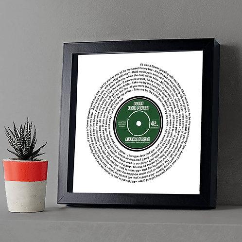Personalised Vinyl record lyrics label framed