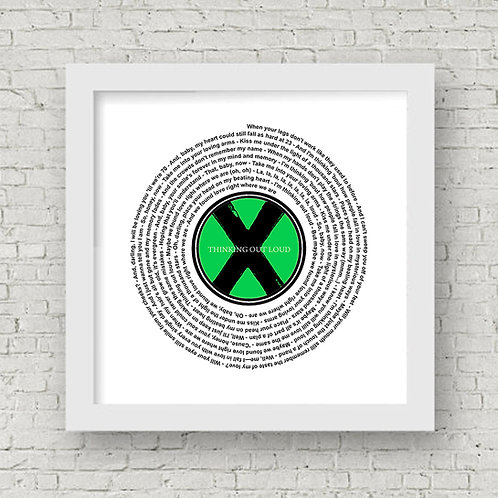 Ed Sheeran - Thinking Out Loud Personalised Vinyl record lyrics label framed