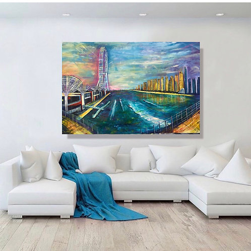 """Blue Waters Dubai"" Acrylic painting"
