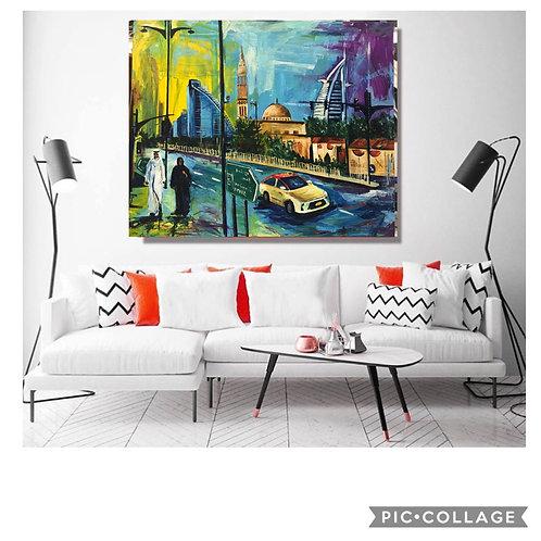 """Jumeirah Beach Road"" Acrylic painting"