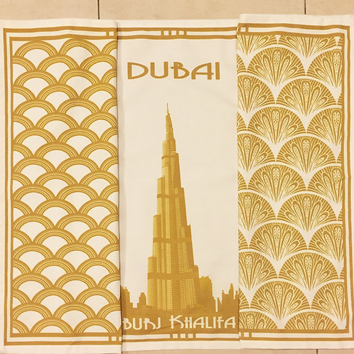 Burj Khalifa and 2 patterned tea towels all gold (set of 3)