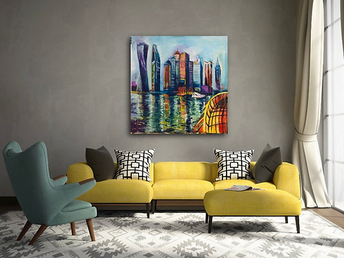 """""""Dubai Marina Walk"""" Acrylic painting"""