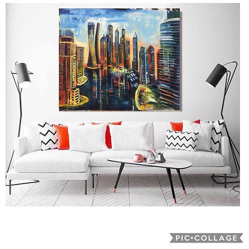 """""""Dubai Marina"""" Acrylic painting"""