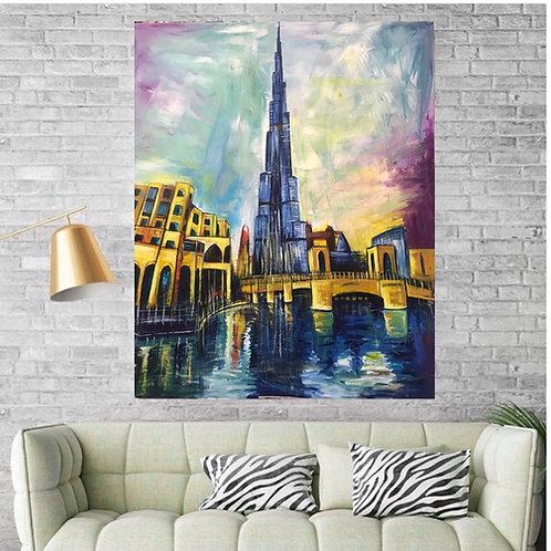 """Burj Khalifa Down Town"" Acrylic painting"