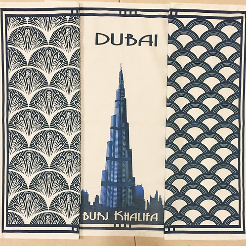 Burj Khalifa and 2 patterned tea towels all blue (set of 3)