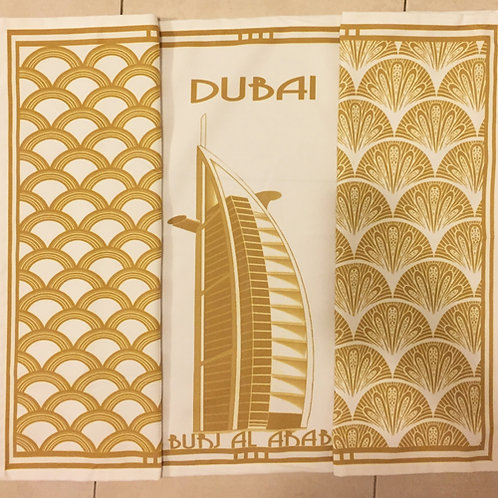 Burj Al Arab and 2 patterned tea towels all gold (set of 3)