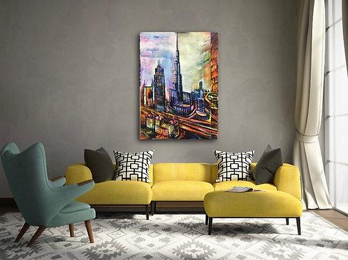Burj Khalifa Acrylic painting