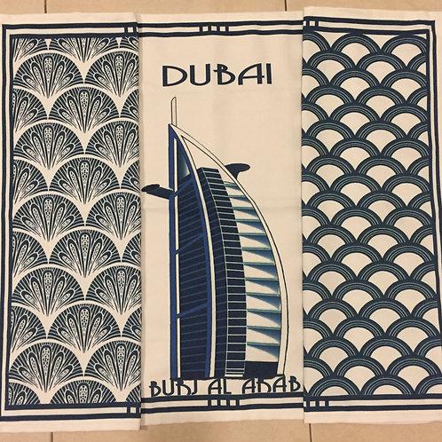 Burj Al Arab and 2 patterned tea towels all blue (set of 3)