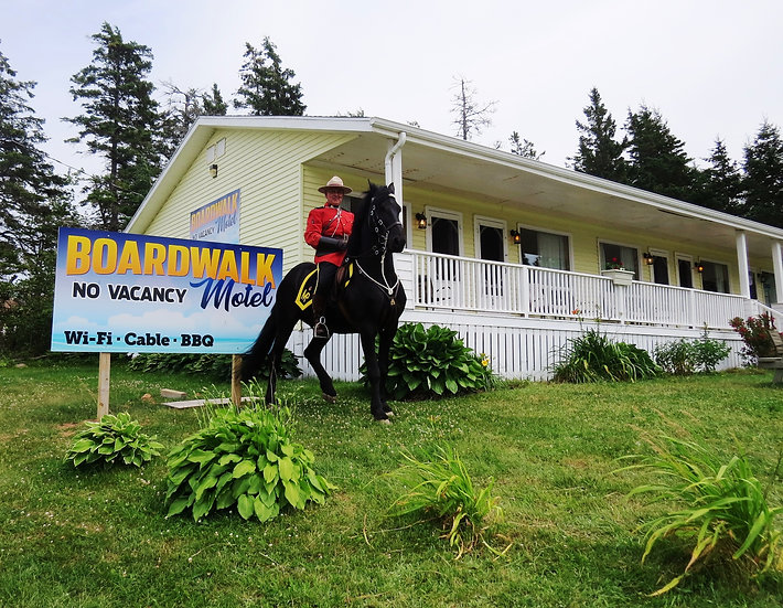 Picture of RCMP on horse , Boardwalk Motel Cavendsh, Prince Edward Island, Canada