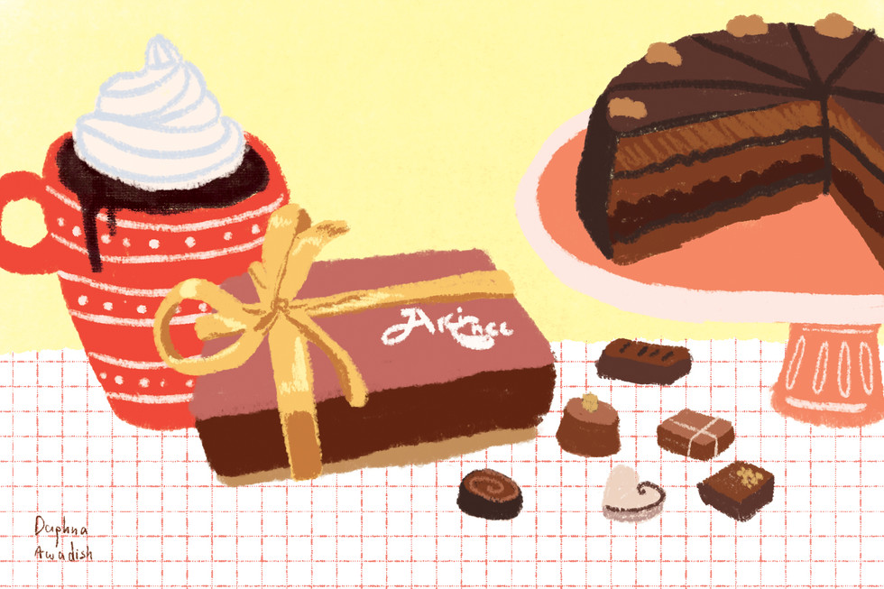 chocolate box, cake and drink colored 3.