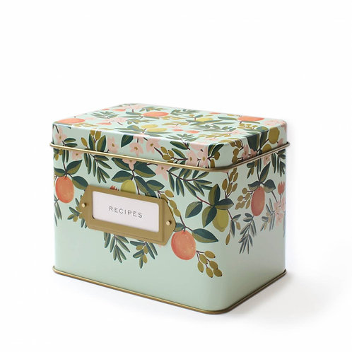 citrus floral recipe tin box