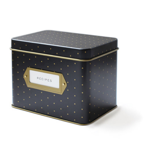 polka dot recipe tin box