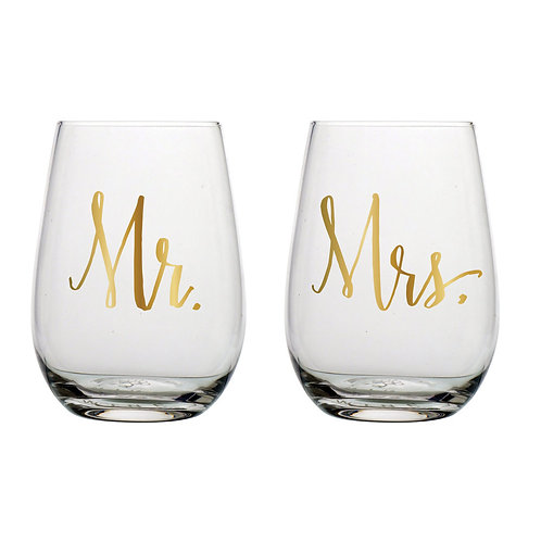Mr. & Mrs. Stemless Wine Glasses