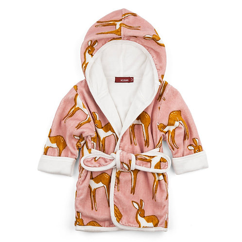 organic hooded baby bath robe- pink/deer