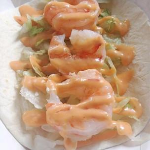 Shrimp taco with boom boom sauce - Tuesdays only.
