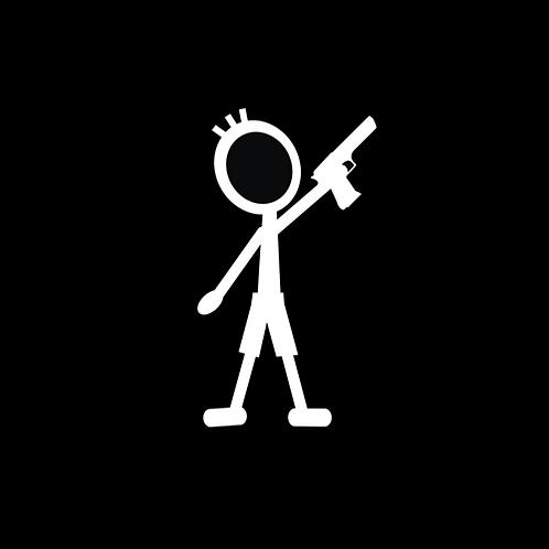 Young Boy Stick Figure - Pistol (G379)