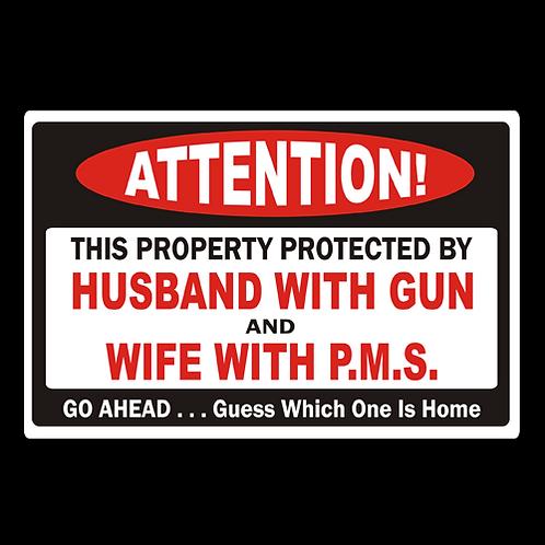 Warning, Husband & Wife - Sign  (PVC-77)