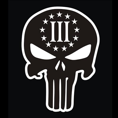 3% Punisher Skull - Solid Black Color (G271)