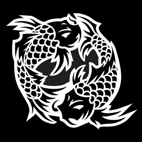 Black White Dancing Koi (AN24)