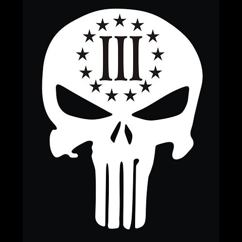 3% Punisher Skull - White Cut (G272)