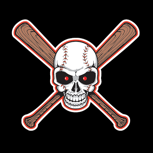 Crossed Baseball Bats With Skull (BB9)