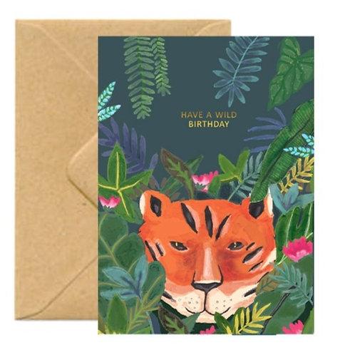 Jungle Tiger Birthday Greetings Card