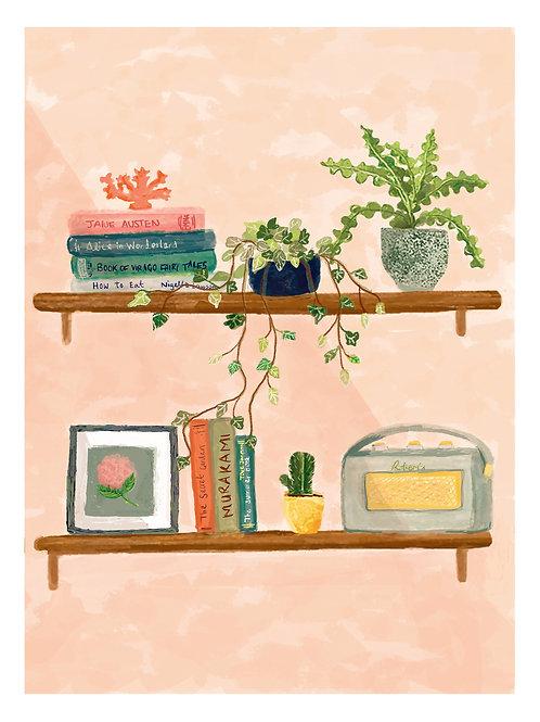 Books & Plants Art Print