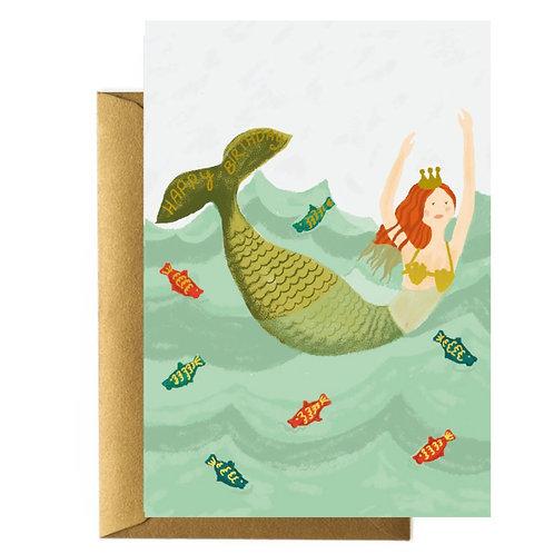Mermaid Birthday Greetings Card