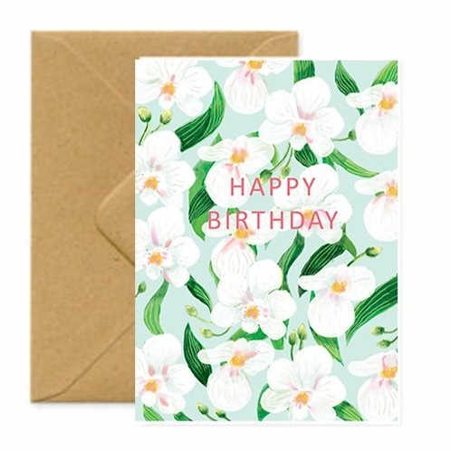 Summer Orchids Birthday Greetings Card