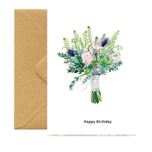 Cottage Garden Bouquet Birthday Greetings Card