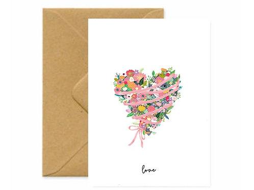 Floral Love Heart Greetings Card