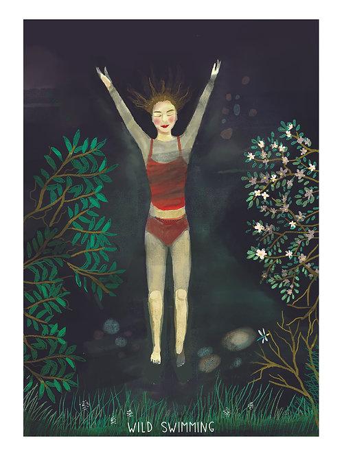 Wild Swimming Set of 4 x A5 Art Prints