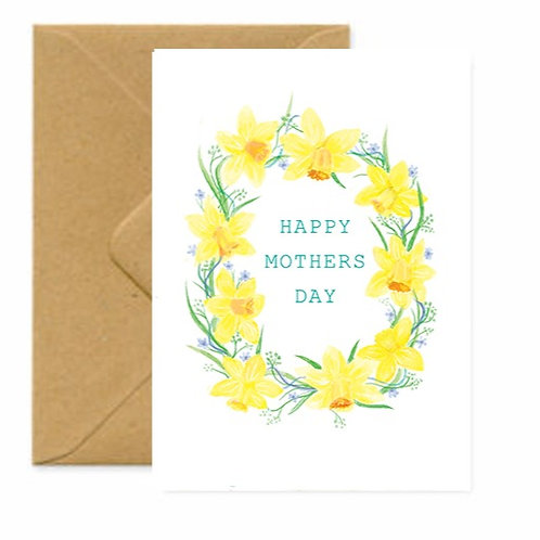 Daffodil's Wreath Mother's Day Greetings Card