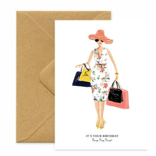 Parisian Shopper Birthday Greetings Card
