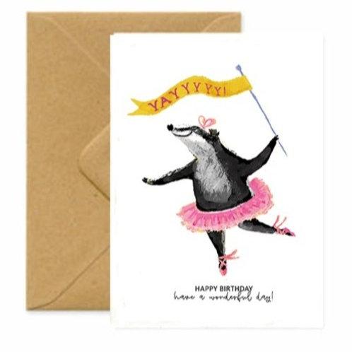 Ballerina Badger Birthday Greetings Card