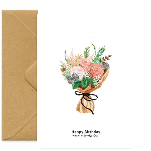 Country House Bouquet Birthday Greetings Card