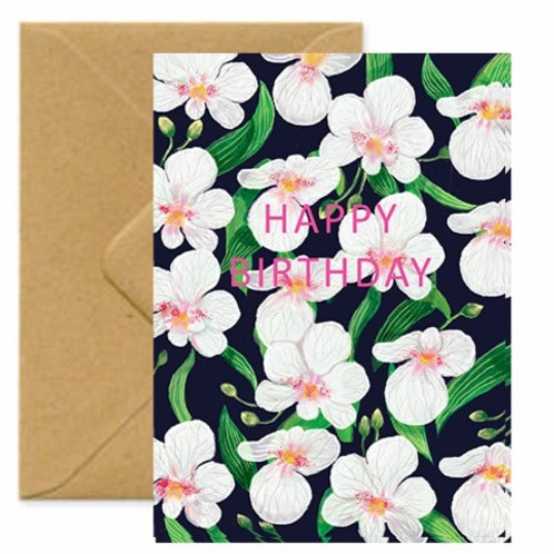 Orchids Birthday Greetings Card