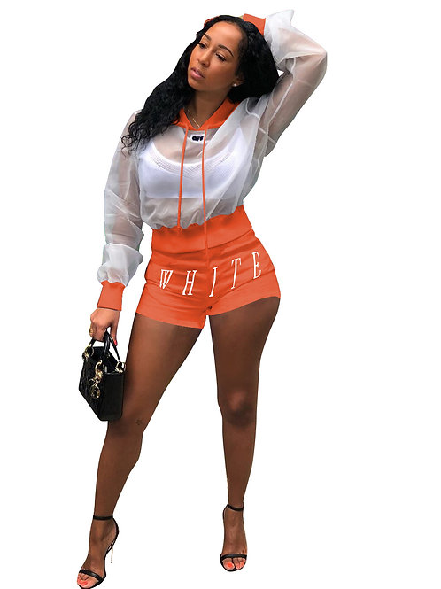Two Piece Set Women Mesh Crop Top Biker Shorts Sweat Suit