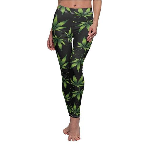 Marijuana Print Casual Leggings - Black