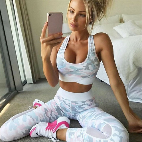 2 Piece Yoga Set Women Workout Sports Bra and Fitness Leggings Sets