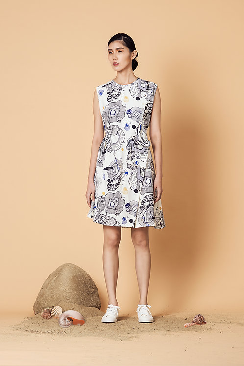 Printed Slanted Shirtdress
