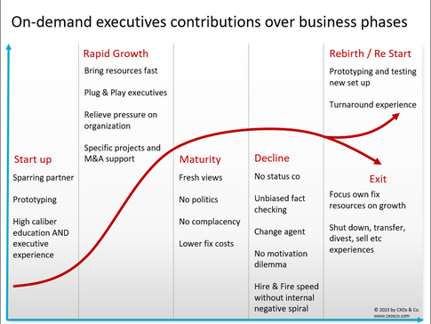 On-demand Executives: Contributions over business phases