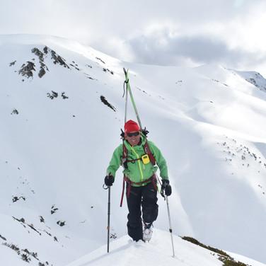Snowy Mountains Backcountry SMBC Climbing the backside of Twynam